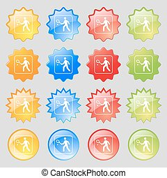 Tennis player icon sign. Big set of 16 colorful modern...