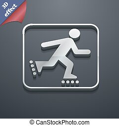 roller skating icon symbol. 3D style. Trendy, modern design...
