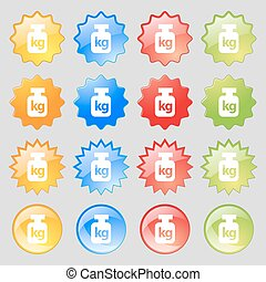 Weight icon sign Big set of 16 colorful modern buttons for...