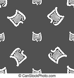 Intestines sign Seamless pattern on a gray background Vector...