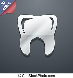 Tooth icon symbol. 3D style. Trendy, modern design with space for your text Vector