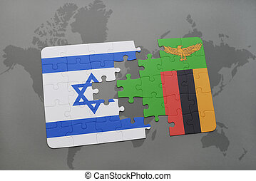 puzzle with the national flag of israel and zambia on a...