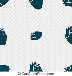 Human heart sign Seamless pattern with geometric texture...