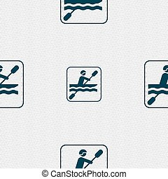 canoeing sign. Seamless pattern with geometric texture. Vector