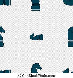 Chess knight icon. sign. Seamless pattern with geometric...