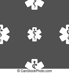 Medicine sign Seamless pattern on a gray background Vector...