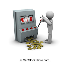 Win with a slot machine - One 3d man who wins a lot of money...