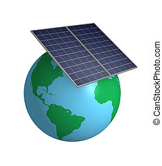 Solar energy - Earth with solar panels