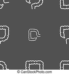 large intestine sign Seamless pattern on a gray background...