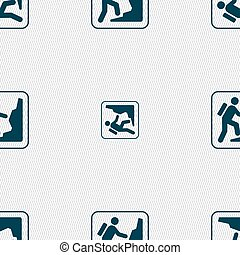rock climbing sign Seamless pattern with geometric texture...