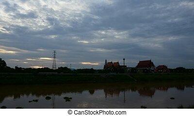 Wat Chai Mongkhon at Chaopraya river - Ang Thong, Thailand -...