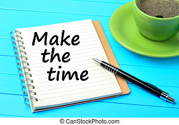 Make the time on notebook - Text Make the time on notebook