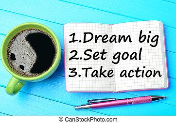 sätta, mål, Stor, anteckningsblock, ta, handling, dröm