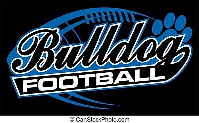 bulldog football team design in script with tail for school,...