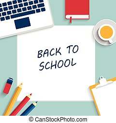 Back to school background, vector illustration. Template for...