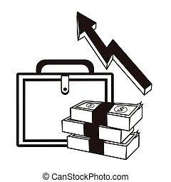 suitcase money financial sketch design