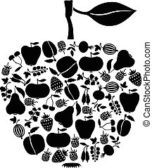 Apple of fruits and berries icon - Vector illustrations of...