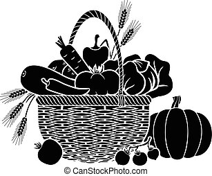 Basket with vegetables - Vector illustrations of basket with...