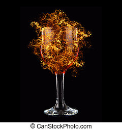 red wine fire - red wine at fire on black background