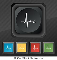 Heartbeat icon symbol. Set of five colorful, stylish buttons on black texture for your design. Vector