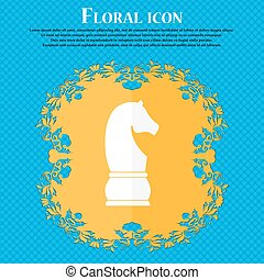 Chess knight icon. icon. Floral flat design on a blue...