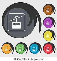 cable car line sign icon. Symbols on eight colored buttons. Vector
