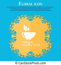 healthy food concept icon. Floral flat design on a blue abstract background with place for your text. Vector