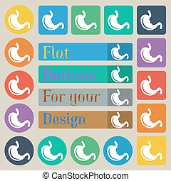 Stomach icon sign. Set of twenty colored flat, round, square...