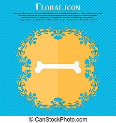 Dog bone icon. Floral flat design on a blue abstract background with place for your text. Vector