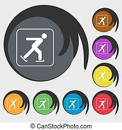 Ice skating sign icon. Symbols on eight colored buttons. Vector