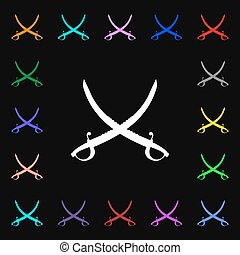 Crossed saber icon sign Lots of colorful symbols for your...