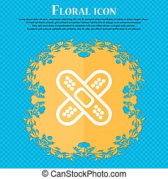 adhesive plaster icon. Floral flat design on a blue abstract...