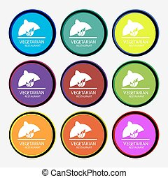 vegetarian restaurant icon sign. Nine multi colored round buttons. Vector