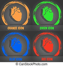 Human heart icon. Fashionable modern style. In the orange, green, blue, red design. Vector