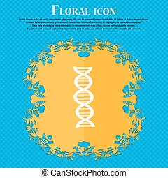 DNA icon. Floral flat design on a blue abstract background with place for your text. Vector