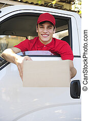 delivery courier in van delivering package - happy postal...