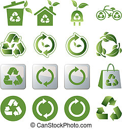 Recycle icons set