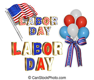 Labor Day clip art illustrations with red, white and blue...