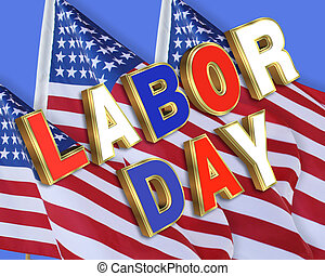 Labor Day American flags