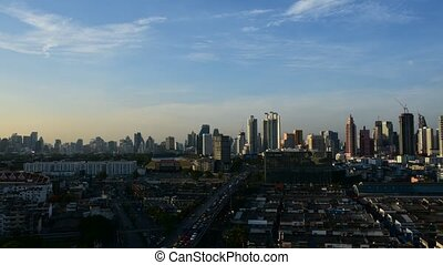 Cityscape and transportation in daytime of Bangkok city...