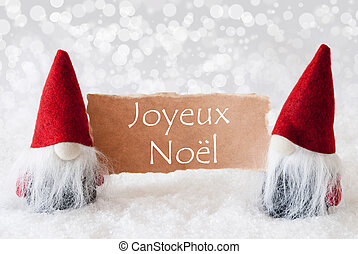 Red Gnomes With Card, Joyeux Noel Means Merry Christmas -...