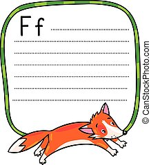Little funny jumping fox, for ABC. Alphabet F