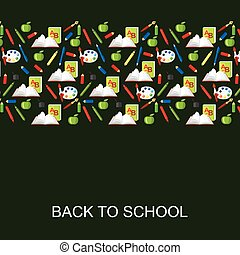 Back to school congratulatory card on green background