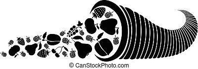 cornucópia, com, Bagas, e, frutas
