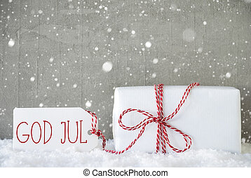 Gift, Cement Background With Snowflakes, God Jul Means Merry...