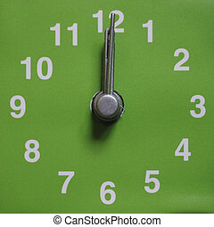 Midnight or noon - Clock showing time - 12 twelve o clock,...