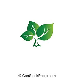 Isolated abstract green color tree vector logo. Leaves on a...