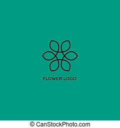 Isolated vector flower logo Outlined flower on the turquoise...