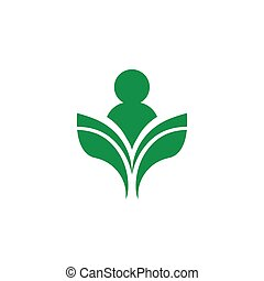 Isolated abstract green color human silhouette vector logo....