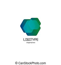 Isolated abstract hexagons overlays vector logo. Polygonal translucent geometric shape figure logotype on the white background, Blue, green,turquoise color vector illustration.